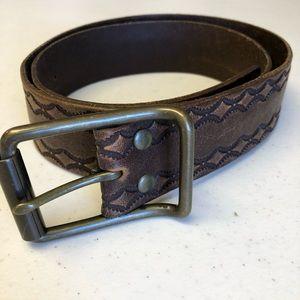 Gap Diamond Pattern Genuine Leather Belt Brown 34